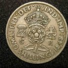 1948 BRITISH UK ENGLAND TWO SHILLINGS CROWN DESIGN: Antique/Vintage OLD Coin