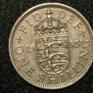 1955 BRITISH UK ENGLAND ONE SHILLING LION ANIMAL: Antique/Vintage OLD Coin