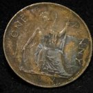 1937 DAMAGE BRITISH UK ENGLAND LARGE COPPER PENNY CENT: Antique/Vintage OLD Coin