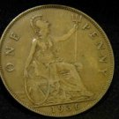 1936 BROWN BRITISH UK ENGLAND LARGE COPPER PENNY CENT: Antique/Vintage OLD Coin