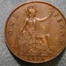 1936 BRITISH UK ENGLAND LARGE COPPER PENNY CENT: Antique/Vintage Coin
