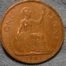1963 BRITISH UK ENGLAND LARGE COPPER PENNY CENT: Antique/Vintage Coin