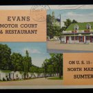 ANTIQUE ORIGINAL POSTCARD: EVANS MOTOR COURT, SUMTER, SC, US 15 & US15A N MAIN S