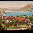 ANTIQUE ORIGINAL POSTCARD: LUGANO SWITZERLAND, ALPS; MONTE BRE COTTAGES
