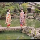 ANTIQUE ORIGINAL POSTCARD: GEISHAS IN GARDENS: MAIKO GIRLS KYOTO, TRADITIONAL
