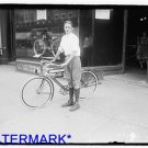 *NEW* Antique Bicycle Photo:(8X10) Unknown boy on Bike, Light, Horn, White-wall
