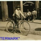 *NEW* Antique Bicycle Photo:(8X10) 11yr old, Delivery Boy,Opelika Market,Alabama