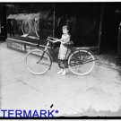 *NEW* Antique Bicycle Photo:(8X10) Times Messenger Girl with bicycle, dress