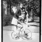 *NEW* Antique Bicycle Photo:(8X10) Unknown Children in Houston,TX, Tricycle,Girl