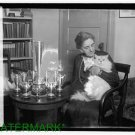 *NEW* Antique Cat Photo:(8X10) Elderly Woman holding cat, trophies, silver est
