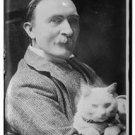Antique-rp-Cat Photo:(8X10) Sir Philip Burne-Jones holding cat in 1913, suit
