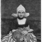 "Antique-rp-Cat Photo:(8X10) ""Silvester Child"", ""Buzzer"" the cat, Hat, cat in lap"