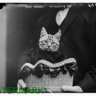 Antique-rp-Cat Photo:(8X10) Paris-London Moissant's Cat 1915, Cat in Basket