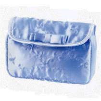 Blue Embroidered Satin Cosmetic Bag with Free Shipping