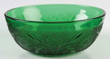 Anchor Hocking Forest Green Sandwich Glass Berry Bowl