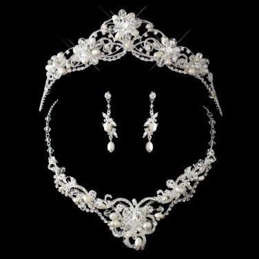 Silver Freshwater Pearl, Swarovski Crystal Bead and Rhinestone Tiara Headpiece  Set
