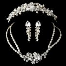 Silver Freshwater Pearl, Swarovski Crystal Bead and Rhinestone Tiara Headpiece & Jewelry set