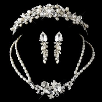 Silver Freshwater Pearl, Swarovski Crystal Bead and Rhinestone Tiara Headpiece & Jewelry set