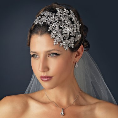 Vintage Couture Leaves Side Accented Crystal Bridal Faceframer Headband Headpiece