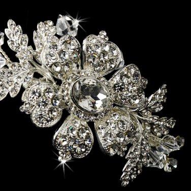 Charming Silver Side Accented Flower Headpiece w/ Clear Rhinestones & Austrian Crystals