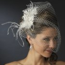 Stunning White or Ivory Feather & Austrian Crystal Bridal Comb w/ Birdcage Veil 3219