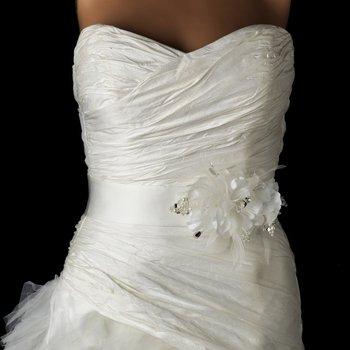Silver Flower Austrian Crystal & Pearl Bridal Sash Belt 115
