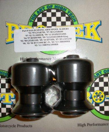 Pro-tek Swing Arm Spool Slider Suzuki 1999 2000 2001 2002 2003 SV650 SV650S SV-650 Black SAS-20K