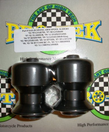Pro-tek Swing Arm Spool Slider Suzuki 1997 1998 1999 2000 2001 2002 GSXR600 GSXR-600 Black SAS-20K