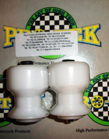 Pro-tek Swing Arm Spool Slider Honda 2003 2004 2005 2006 2007 CBR600RR CBR-600RR White SAS-20W