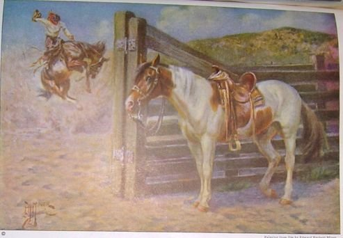 1923 MUSTANG HORSE PRINT by EDWARD H MINER Plate-23
