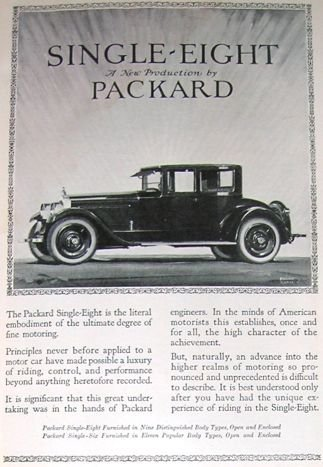 1923 Single-8 Packard Ad F Quail Art & Thom Cook & Sons
