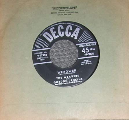 RARE The Weavers & Gordon Jenkins Wimoweh 45 Record NM