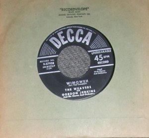 RARE The Weavers & Gordon Jenkins Wimoweh 45 Record NM