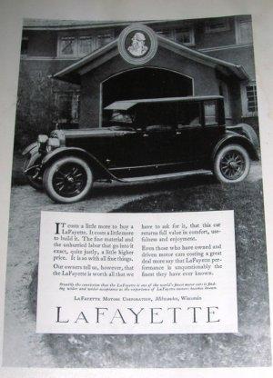 1923 Lafayette Automobile Car Ad & General Electric Ad