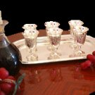 Wine Server Tray with Kidush Silver Polish Cups