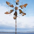 "Flamed Copper Fluttering Butterflies Spinner with Twisted Stake, 66"" tall"