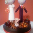 Custom Personalized Halloween Fall Wedding Cake Topper