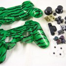 "PS3 CUSTOM HYDRO DIPPED CONTROLLER SHELL WITH BUTTONS GREEN "" ZEBRA STRIPE "" HIGH GLOSS SHINE"
