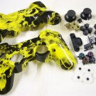 PS3 CUSTOM HYDRO DIPPED CONTROLLER SHELL WITH BUTTONS YELLOW NAUGHTY FIRE FLAME