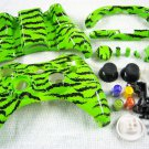HYDRO DIPPED CUSTOM XBOX 360 CONTROLLER SHELL LIME GREEN ZEBRA STRIPE HIGH GLOSS