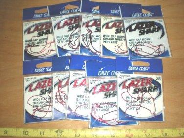 10 packs Eagle Claw Lazer Sharp, Wide Gap, Offset Bass Hooks, Red, size 2/0 (bass, worm hooks)