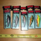 5 Original Rapala F-5 Minnow Lure Assortment,Perch,Trout,Firetiger,Silver,New