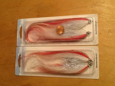 (4) Classic Fly Saltwater Flies, Red/white w. Green flash
