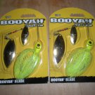 (2) Booyah Bait Double Willow Blade 1/2 oz Spinnerbait Bass Lures - Chartreuse