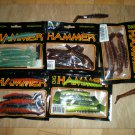 "Big Hammer 4"" Ring Hammer Plastic Bass Swimbait-Worm, 5 colors, New"