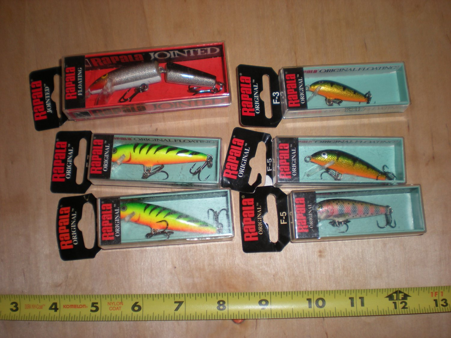 (6) Original Floating Rapala, F-3,f-5,f-7,& F-9 jointed Lure lot,Bass,Trout,Pike
