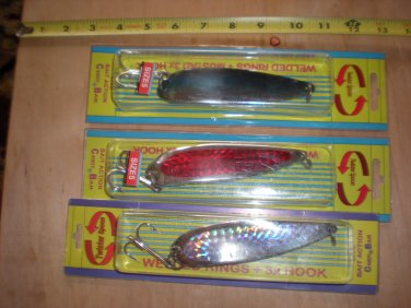 (3) large Candy Bar Twister Saltwater Spoons, (heavier than Krocodile) 5.8 oz, New