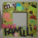 Green &quot;My Sweet Family&quot; - Crafty Hand Painted Picture Frame for Kids (8 in x 8 in)