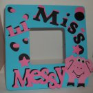 Turquoise - Lil &#39; Miss Messy Pig - Crafty Hand Painted Picture Frame for Kids (8 in x 8 in)