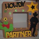 Tan &quot; Howdy Partner&quot; Western - Crafty Hand Painted Picture Frame for Kids (8 in x 8 in)